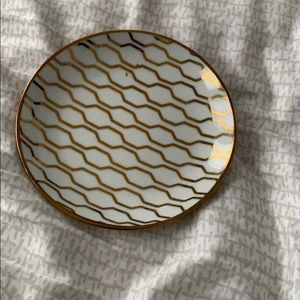 Ceramic White, Gold Lined Small Plate